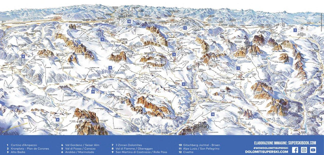 Cartina Dolomiti Pdf.Mappa Del Dolomiti Superski Cartina Skimap Completa Delle 12 Zone Sciistiche